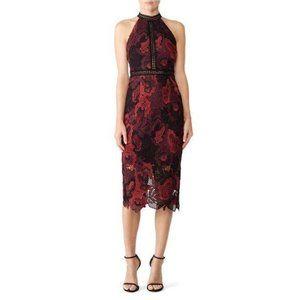 Alexia Admor Lace Midi Dress Sheath Burgundy Sz M